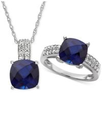 Macy's - Metallic Lab Created Sapphire (6-5/8 Ct. T.w.) & White Sapphire (5/8 Ct. T.w.) Pendant Necklace & Ring In Sterling Silver - Lyst