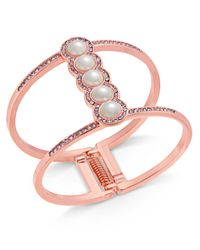 INC International Concepts - Pink I.n.c. Rose Gold-tone Pavé & Imitation Pearl Open Hinged Cuff Bracelet, Created For Macy's - Lyst