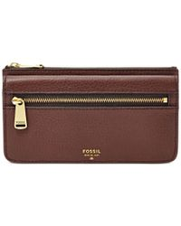 Fossil | Brown Preston Leather Flap Clutch Wallet | Lyst