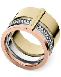 Michael Kors - Pink Tri-tone Clear Stackable Ring - Lyst