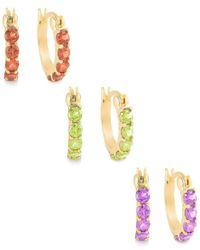Macy's | Metallic Multi-stone Hoop Earrings Set In 18k Gold Over Sterling Silver | Lyst