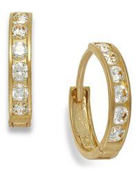 Macy's | Metallic Cubic Zirconia Hoop Earrings In 10k Gold | Lyst