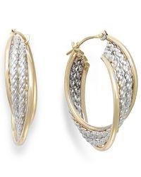 Macy's | Metallic Two-tone Rope Hoop Earrings In 10k Gold | Lyst