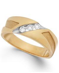 Macy's   Metallic Men's Diamond Diagonal Band In 10k Gold (1/4 Ct. T.w.) for Men   Lyst