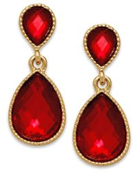 INC International Concepts | Gold-tone Red Stone Teardrop Earrings | Lyst