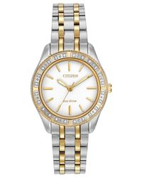 Citizen - White Women's Eco-drive Diamond Accent Two-tone Stainless Steel Bracelet Watch 29mm Em0244-55a - Lyst