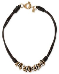 Robert Lee Morris | Metallic Two-tone Mixed Metal Ring Leather Frontal Necklace | Lyst