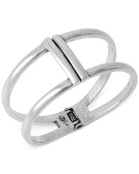 Kenneth Cole - Metallic Silver-tone Two Row Hinged Bangle Bracelet - Lyst