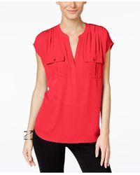 INC International Concepts | Red Mixed-media Utility Shirt, Only At Macy's | Lyst