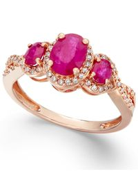Macy's | Metallic Ruby (1-1/3 Ct. T.w.) And Diamond (1/4 Ct. T.w.) Three-stone Ring In 14k Rose Gold | Lyst