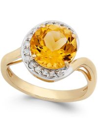 Macy's | Metallic Citrine (2-7/8 Ct. T.w.) And Diamond (1/5 Ct. T.w.) Ring In 14k Gold | Lyst