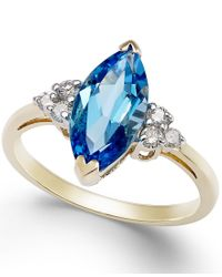 Macy's | Blue Topaz (2-3/4 Ct. T.w.) And Diamond (1/6 Ct. T.w.) Marquise Ring In 14k Gold | Lyst