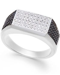 Macy's | Metallic Men's Black And White Diamond (1/2 Ct. T.w.) Ring In Sterling Silver | Lyst