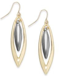 ABS By Allen Schwartz | Metallic Two-tone Orbital Drop Earrings | Lyst