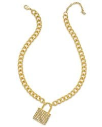 ABS By Allen Schwartz | Metallic Gold-tone Pave Lock Pendant Necklace | Lyst