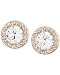 Swarovski | Metallic Rose Gold-tone Crystal Round Button Earrings | Lyst