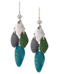 Robert Lee Morris | Green Silver-tone Patina Mixed Bead Chandelier Earrings | Lyst