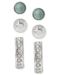 Kenneth Cole | Multicolor Silver-tone Crystal, Turquoise Bead And Stick Stud Earring Set | Lyst