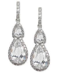Arabella - Metallic Swarovski Zirconia Teardrop Earrings In Sterling Silver - Lyst