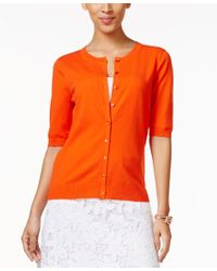 August Silk - Orange Elbow-sleeve Cardigan - Lyst