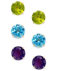 Macy's | Blue Multi-stone Stud Earring Set In 14k Gold ( 5-1/2 Ct. T.w.) | Lyst