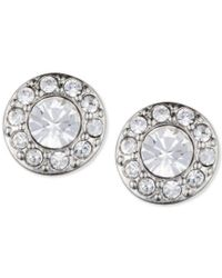 Givenchy | Metallic Silver-tone Small Crystal Pave Stud Earrings | Lyst