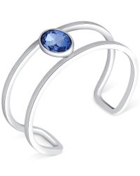 T Tahari - Silver-tone Blue Stone Open Cuff Bracelet - Lyst