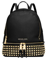 Michael Kors | Black Michael Rhea Small Studded Backpack | Lyst