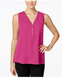 INC International Concepts | Pink Zip-front Knit-back Top, Only At Macy's | Lyst