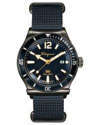 Ferragamo | Men's Swiss Sport Marine Blue Canvas Strap Watch 44mm Ff3210015 for Men | Lyst