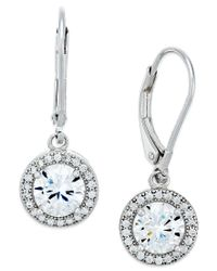 Macy's | Metallic Giani Bernini Cubic Zirconia Halo Drop Earrings In Sterling Silver Or 18k Gold Over Sterling Silver | Lyst