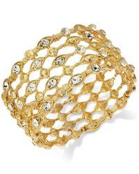 INC International Concepts | Metallic Gold-tone Crystal Grid Stretch Bracelet | Lyst