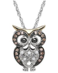 Macy's | Brown White And Chocolate Diamond Owl Pendant Necklace (1/10 Ct. T.w.) In Sterling Silver And 14k Gold | Lyst