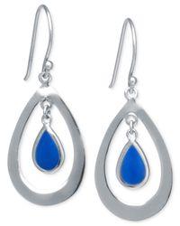 Macy's - Blue Dyed Sodalite Teardrop Earrings In Sterling Silver (2-1/2 Ct. T.w.) - Lyst