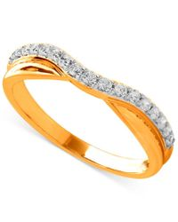 Macy's - Metallic Diamond Contour Band In 14k Gold (1/6 Ct. T.w.) - Lyst