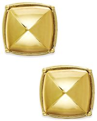 ABS By Allen Schwartz | Metallic Gold-tone Rounded Pyramid Stud Earrings | Lyst