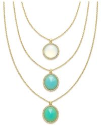 ABS By Allen Schwartz | Blue Gold-tone Round Stone Three Row Necklace | Lyst