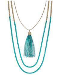 ABS By Allen Schwartz - Gold-tone Blue Popcorn Chain Two Row Necklace - Lyst