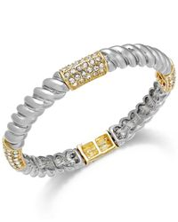 Charter Club | Metallic Two-tone Crystal Pavé Twist Stretch Bracelet | Lyst