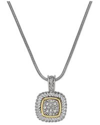 Charter Club - Metallic Two-tone Crystal Pavé Pendant Necklace - Lyst