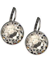 Swarovski | Metallic Silver-tone Faceted Crystal Drop Earrings | Lyst