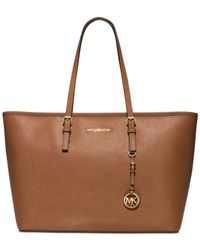 Michael Kors | Brown Jet Set Travel Medium Top Zip Multifunction Tote | Lyst