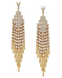 Charter Club | Metallic Gold-tone Crystal Pave Swing Chain Drop Earrings, Only At Macy's | Lyst
