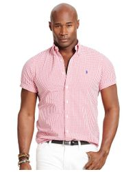 Polo Ralph Lauren | Red Men's Big & Tall Check Seersucker Shirt for Men | Lyst