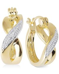 Macy's | Metallic Victoria Townsend Diamond Accent X-hoop Earrings In 18k Gold Over Sterling Silver | Lyst