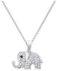 Macy's - Black Diamond Accent Elephant Necklace In Sterling Silver - Lyst