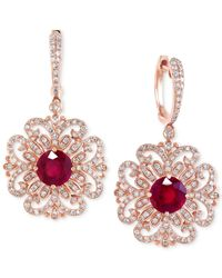 Effy Collection | Red Ruby (3-1/3 Ct. T.w.) And Diamond (9/10 Ct. T.w.) Filigree Pattern Drop Earrings In 14k Rose Gold | Lyst