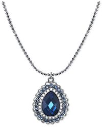 2028 | Silver-tone Blue Crystal Teardrop Pendant Necklace, A Macy's Exclusive Style | Lyst
