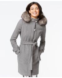 Calvin Klein | Gray Faux-fur-trim Belted Walker Coat | Lyst