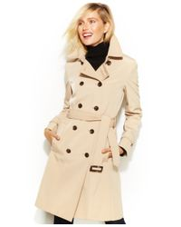 Calvin Klein | Natural Double-breasted Belted Trench Coat | Lyst